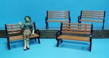 G Scale Model RR Benches-1:24 Scale-Burnt Orange & Black Park Benches-4 Pieces