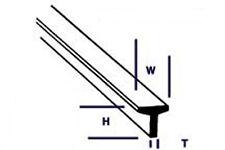 Plastruct Estireno TFS-8 (90566) 5 X 6.4mm X 610mm Longitudes T Secciones - T48