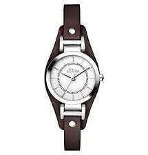 s.Oliver Damen-Armbanduhren mit Armband aus echtem Leder für Erwachsene