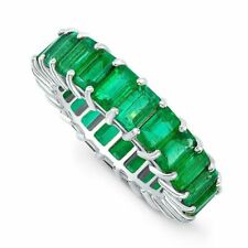 6Ct Green Emerald Full Eternity Wedding Band 14ct White/Rose/Yellow Gold Over