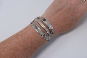 Superb Vintage Art Deco Style Sterling Silver 925 Egyptian Style Bangle 12g #307