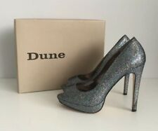 DUNE Silver Multi Platform Peep Toe Stiletto Heels Shoes ~ UK 6~ Party Glam