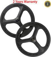 700C Tri Spoke Wheels Road Bike Carbon Wheeleset Clincher 70mm Bicycle Wheelset