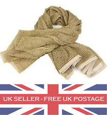 Sand Beige Desert Coyote Scrim Net: Army Military Scarf Sniper Hunting Airsoft