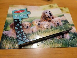 "Golden Retriever Family Complete 100 piece Jigsaw Puzzle Melissa & Doug 14""x19"""