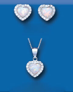Opal Pendant and Earrings Set Solid Sterling Silver Heart Cluster