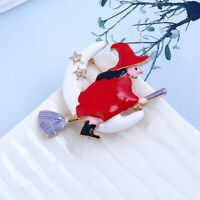 Women Red Witch Flight Mop Enamel Metal Brooch Pin Badge Clothing Accessories
