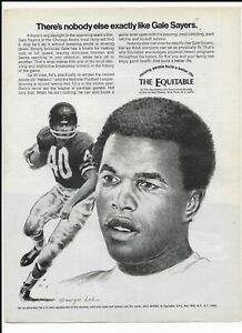 GALE SAYERS Vintage 1971 Print Ad ~ The Equitable  ~ Chicago Bears HOF