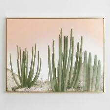 Large Cactus Desert Wall Art Canvas Print w/Blush Pink Rosy Sky & Gold Frame