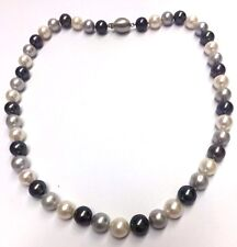 High Quality 14K White Gold White Grey Peacock Glowing Freshwater Pearl Necklace
