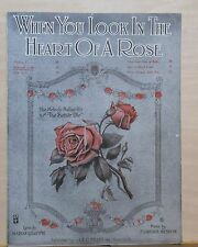 When You Look In The Heart of A Rose - 1918 sheet music - roses on cover