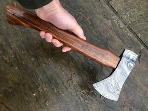 Custom made, hand forged Damascus Camp Axe - Walnut handle