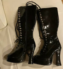Stripper boots ELLIE black patent platform lace up