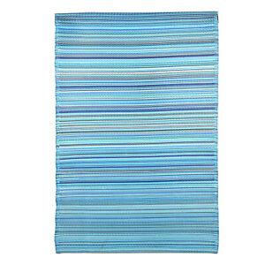 Aqua 100% Polypropylene Stripe Pattern Straw Beach Mat Outdoor Picnic Rug