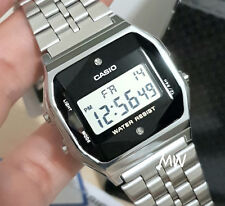 CASIO VINTAGE RETRO DIGITAL SILVER WATCH A159WAD Alarm natural diamonds Unisex