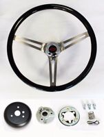 Blazer C10 C20 C30 Pick Up Black Wood Steering Wheel High Gloss RB Bow Cap 15""