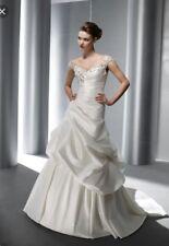 Elianna Moore #7511 White Satin Cap Sleeves Beaded Top Laceup Back Wedding Dress