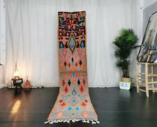 Moroccan Boujaad Handmade Vintage Runner 2'2x10'6 Geometric Gray Berber Wool Rug