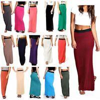 Womens Ladies Gypsy Long Jersey Bodycon Maxi Dress Skirt Womens Skirt Size 8-26