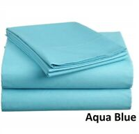 Pretty Egyptian Cotton 1000tc Bedding Collection AU Select Size Aqua Blue Solid