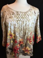 ALFRED DUNNER Petite 3/4 Sleeve Floral Design Top Shirt Petite Medium PM