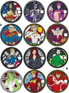 Complete Set of All 12 Women of Marvel & Women of DC Comics Collectible Coins!