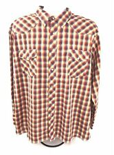 Wrangler Mens XXL Western Shirt Pearl Snap Long Sleeve Plaid Cowboy Rockabilly