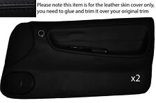 BLACK LEATHER 2X FULL DOOR CARD SKIN COVER FITS NISSAN S13 200SX 180SX 1988-1993