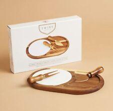 Twine Living Wood & Ceramic Cheese Board Gift Set NIB