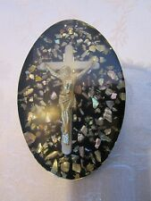 "VINTAGE LUCITE ABALONE SHELL CROSS crucifix WALL hanging oval plaque 1"" thick"