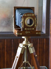 Vintage Designer Wooden folding Camera with Tripod Retro Look Nautical Home Deco