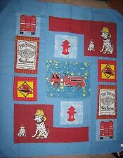 Boys 3pc 1Quilt Bedspread 2 Shams Queen Fire Station Theme Blue Red White Black