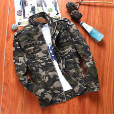 New Mens Army Camouflage Soldier Air Force Military Jean Jacket Outdoor Coat