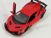 Kinsmart Lamborghini Veneno 1:36 Scale Diecast Toy Car Matt RED with PULL BACK