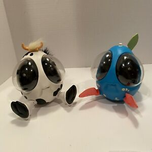 2 OOglies Cowlick & Splash 1990's Toy Working 1 Bulb Is Out 1999 Playmates READ