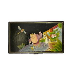 Rectangular Black Lacquer Box w Chinese Mythical Pig Deity Play Graphic ws1552