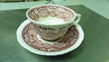 Masons Vista England Ironstone Red Coffee Cup Mug and Saucer