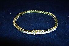 """Vintage 14K Gold Plated Sterling Silver & CZ Tennis Bracelet 7"""" Long 11.9g 5588"""