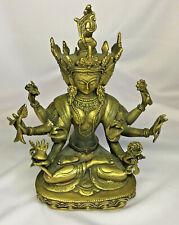 Tibetan Buddhism Temple Bronze Gilt 3 Head 8 Arms Namgyalma Buddhas Statue