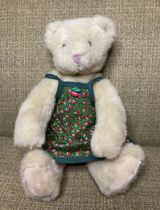 "Vintage 1995 Vermont Teddy Bear Co Plush 13"" Jointed Bear Radish Apron"