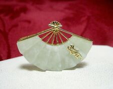 14K YELLOW GOLD GREEN JADE CHINESE SYMBOL FAN PENDANT CHARM 4 GRAMS