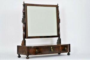 Antique english Mahogany Vanity make up dresser mirror cabinet drawers