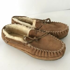 LL BEAN Brown Suede Wicked Good Moccasins Slippers Sheepskin Lined Womens 10