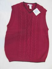 NWT 12 Janie and Jack Navy Burgundy Red Cable Sweater Vest Holiday Christmas