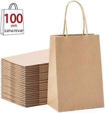 100Pcs Vintage Brown Kraft Paper Bags With Handles Handle Wedding Gift Lot Craft