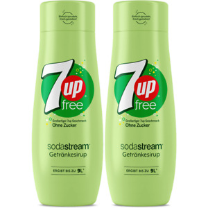2 x SodaStream 7Up Diet Syrup 440ml Concentrate - 9L Fresh Homemade Fizzy Juice