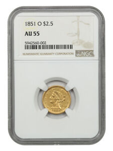 1851-O $2 1/2 NGC AU55 - Popular New Orleans Gold Issue - 2.50 Liberty Gold Coin