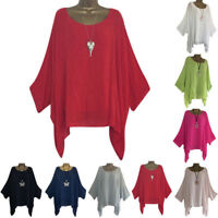Women's Linen Loose Baggy Tunic Batwing Sleeve Tops T-Shirt Blouse Plus Size