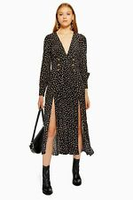 Topshop Printed Button Midi Spot Dress Black Size 12