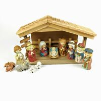Sears 12 Piece Porcelain Nativity with Wooden Creche #98508 with Original Box